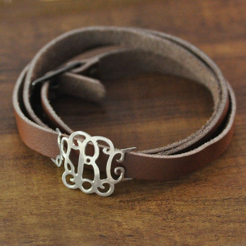 personalized monogram bracelet custom leather wrap