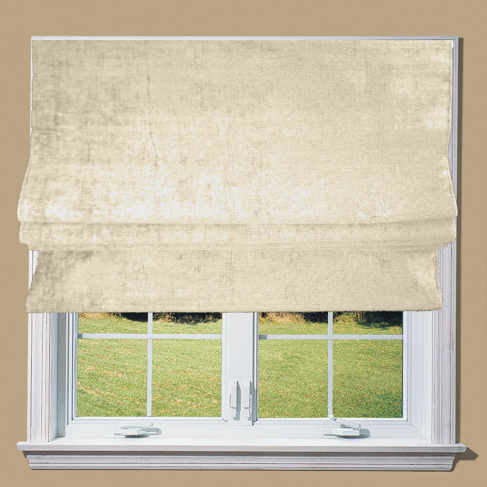 Cream Natural Chenille Blackout Lined Roman Blind