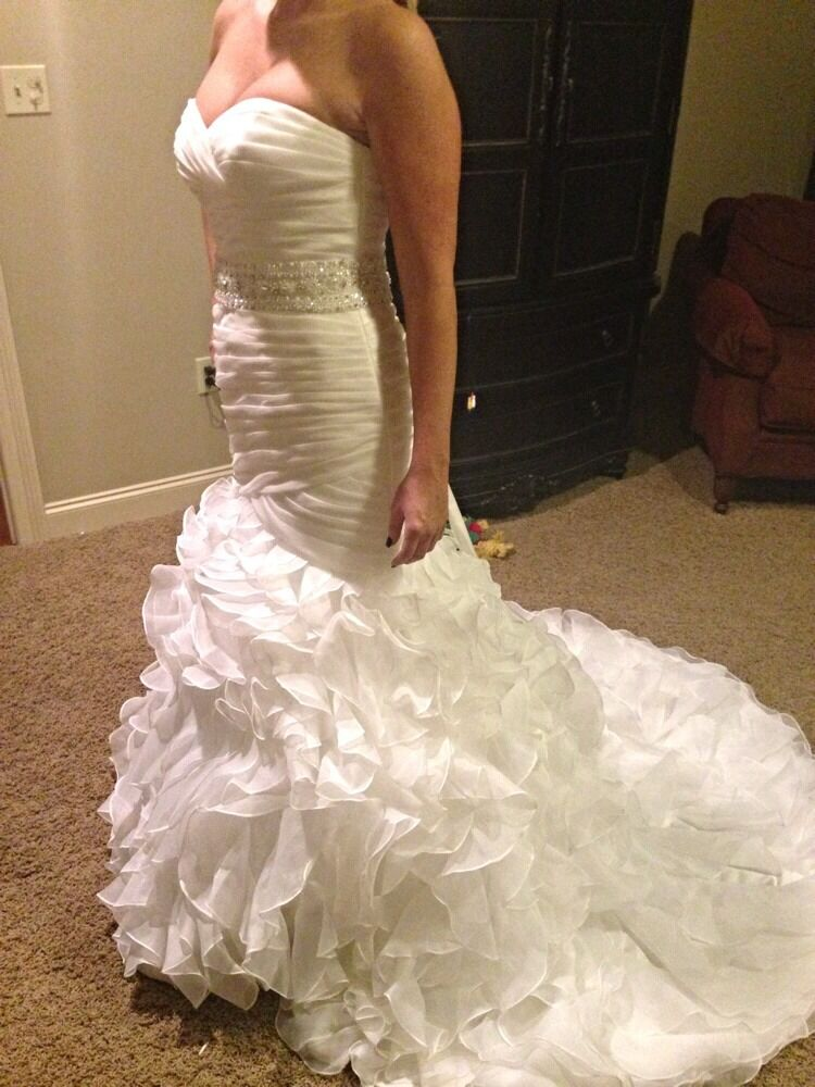Pronovias Sweetheart Satin Garza Trumpet Wedding Dress Ebay