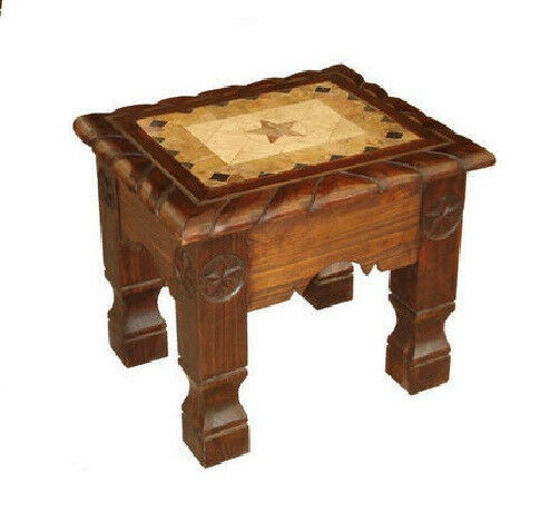 Rustic dark marble rope end table with stars western cabin for Table western