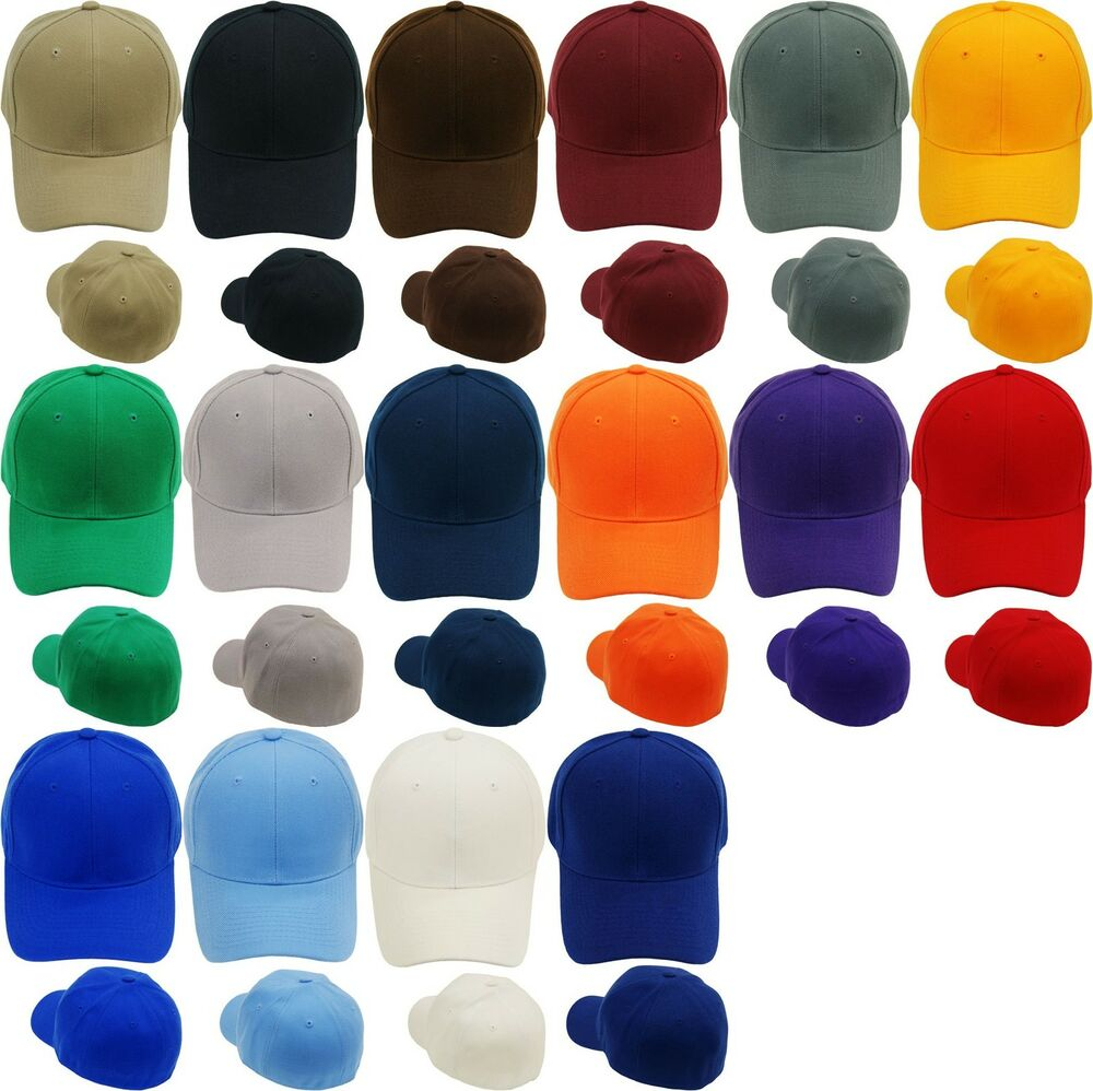 Plain Fitted Baseball Cap Curved Visor Solid Blank Color ...