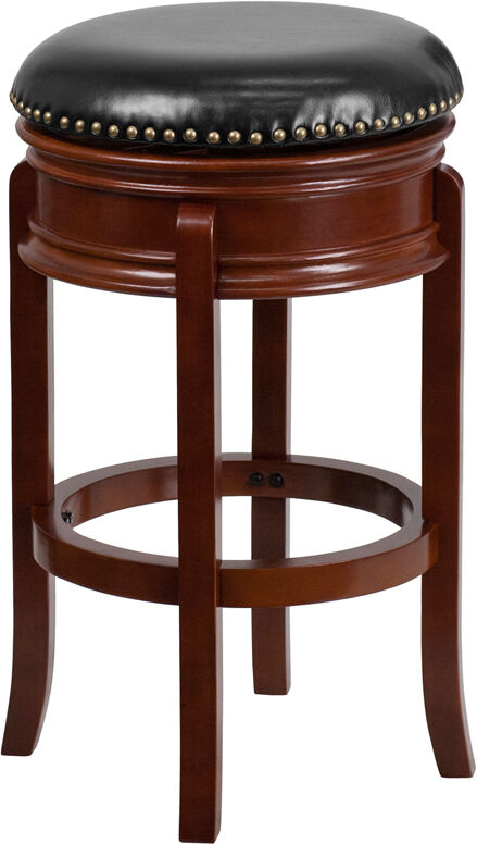 29 Backless Light Cherry Solid Wood Bar Stool With Black