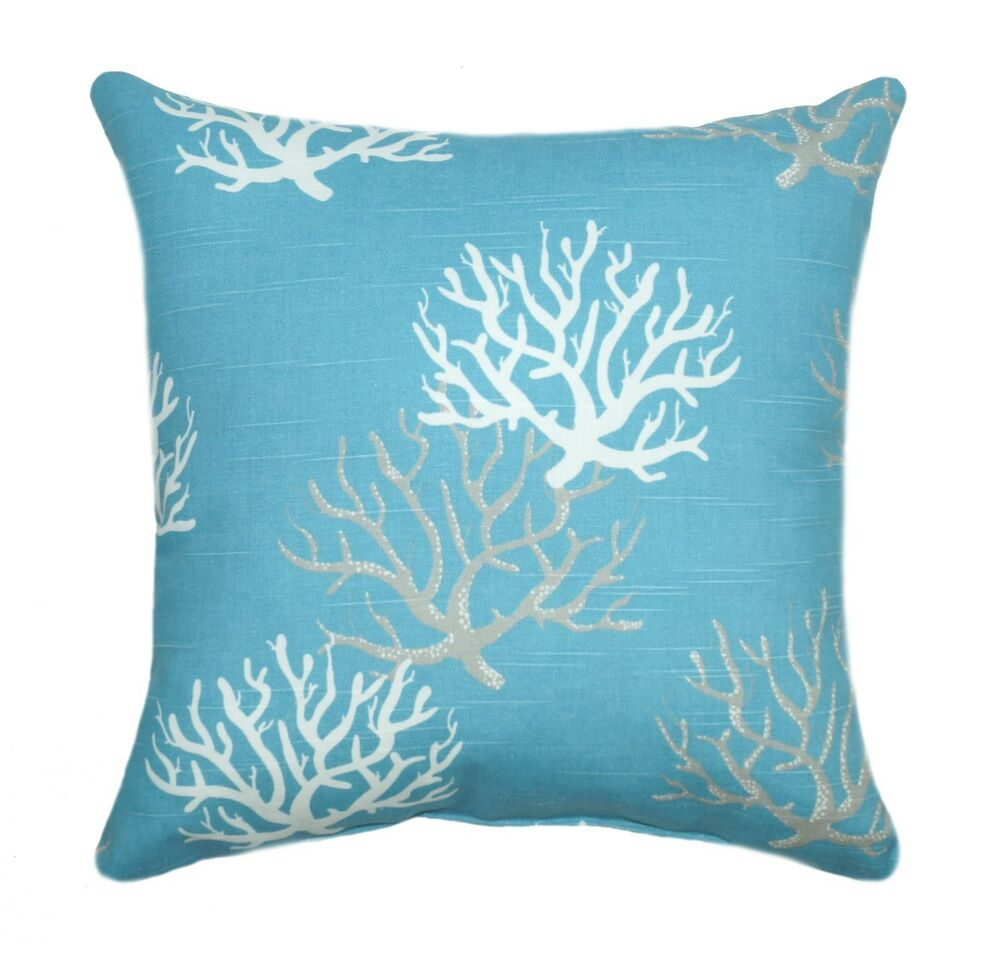 Premier prints isadella coral coastal blue decorative throw pillow ebay - Decorative throw pillows ...