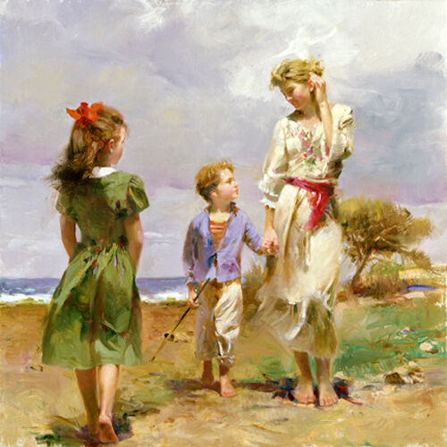Oil painting nice young mother with children little girl for Oil painting for kids