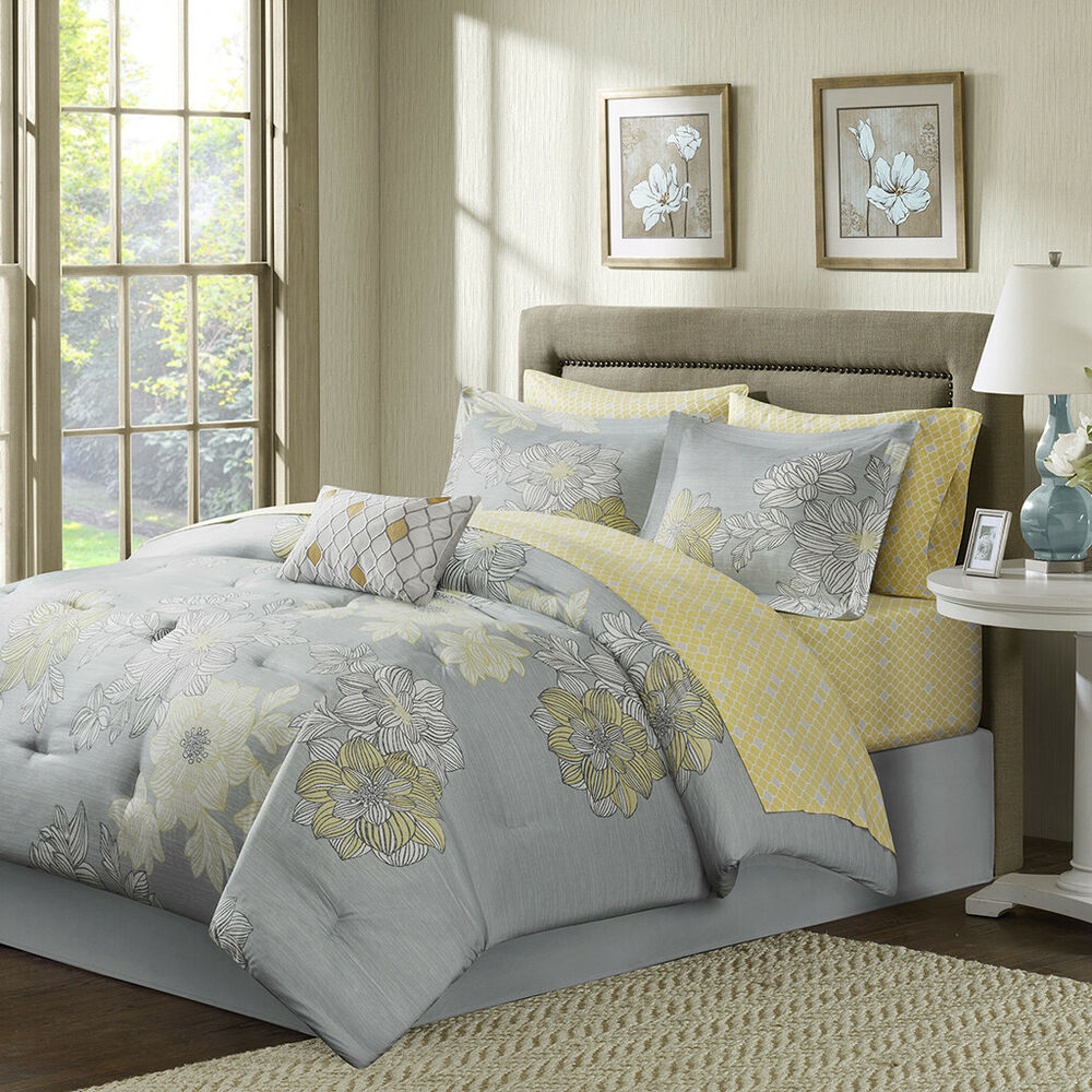 BEAUTIFUL MODERN FLOWER GREY SILVER YELLOW BED IN BAG