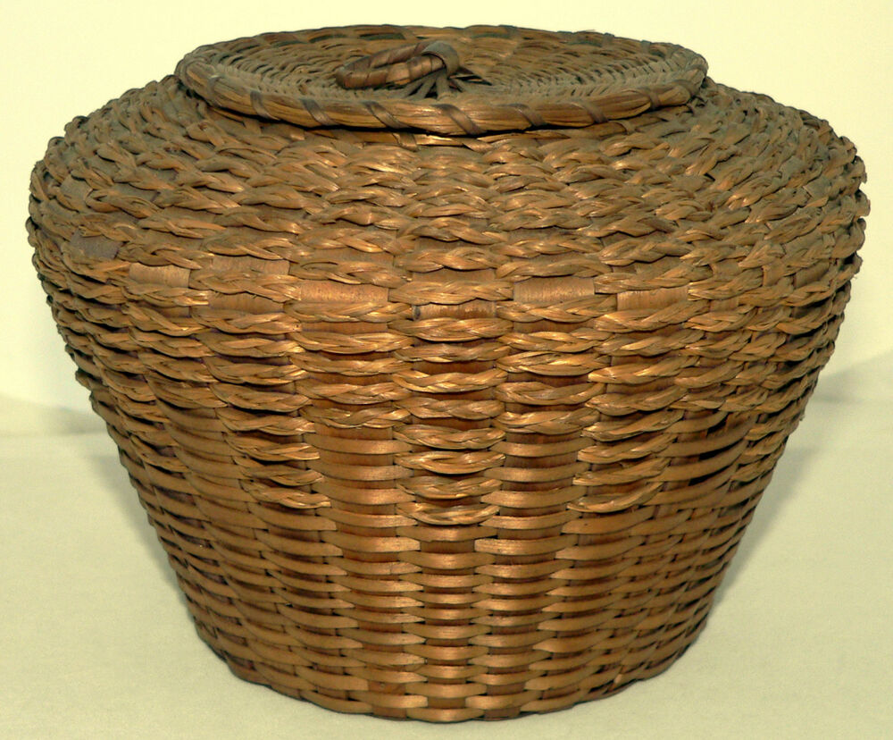 How To Weave A Sweetgrass Basket : Th c woven basket northeast penobscot ash sweet