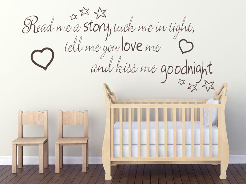 Vinyl Wall Art Quotes For Nursery : Read me a story tuck in tight childs nursery wall