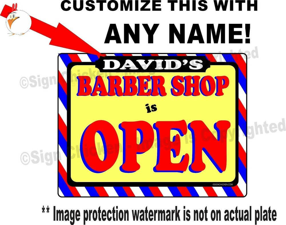 Personalized BARBER SHOP OPEN SIGN, BARBER SUPPLIES, Any Name On This ...