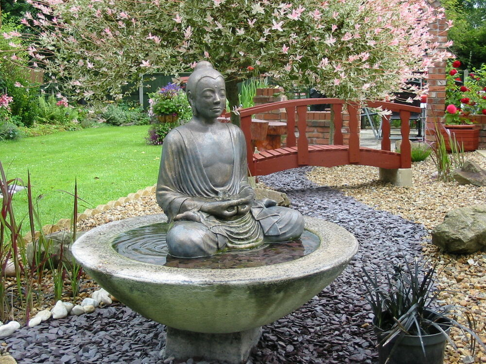 Large buddha water feature fountain outdoor garden patio for Garden fountains and water features