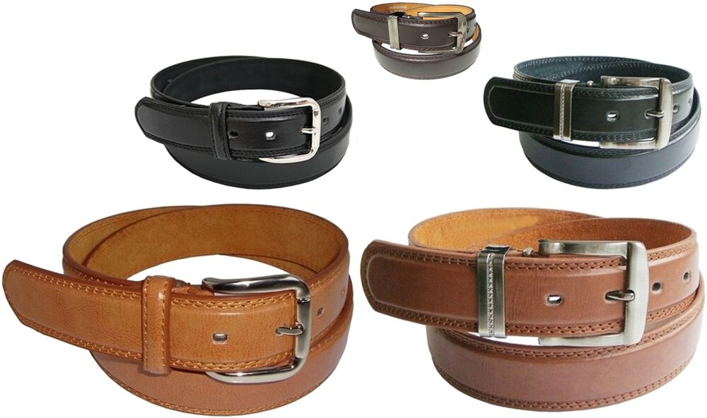 mens leather belt with stitched edge sizes 32 quot 48