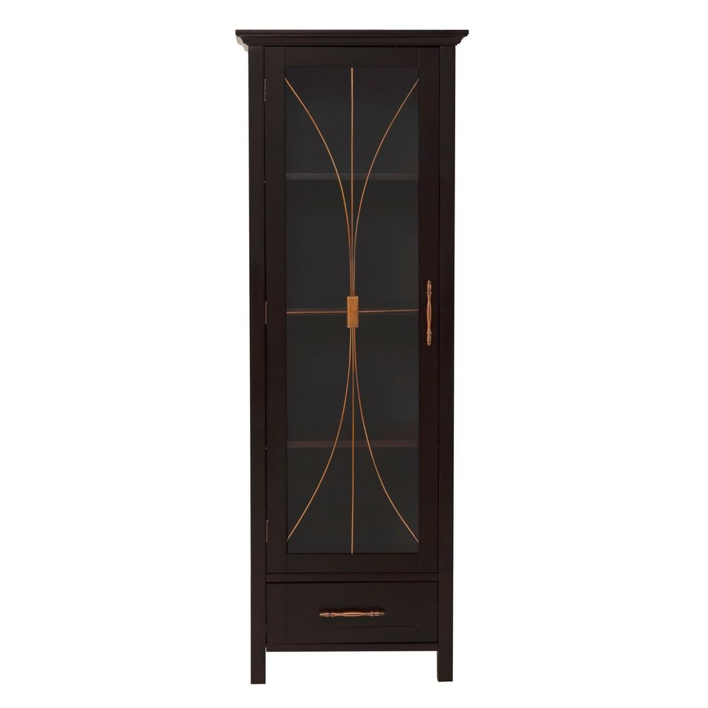 Bathroom Linen Tower Cabinet With Tempered Glass And Bottom Drawer Dark Espresso