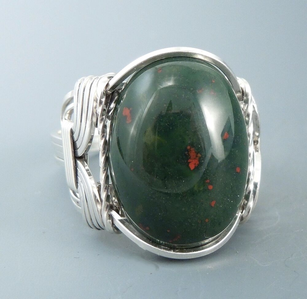 sterling silver heliotrope bloodstone cabochon wire