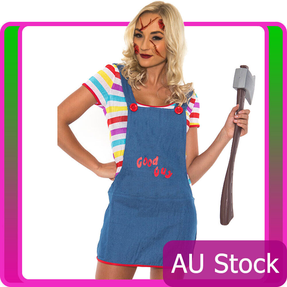 Ladies Sexy Seed of Chucky Doll Halloween Costume Fancy Dress Up ...
