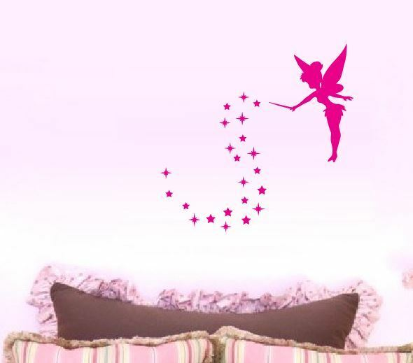 Tinkerbell Fairy Silhouette W Stars Wall Stickers Or Car