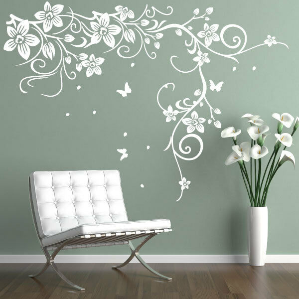 Butterfly Vine Flower Vinyl Wall Art Stickers Wall Decals Wall Graphics Ebay