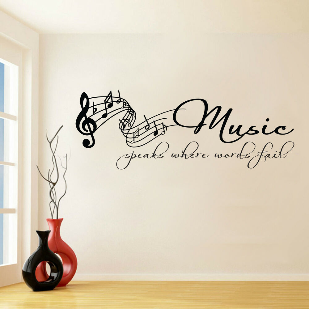 Music Speaks Where Words Fail Wall Sticker Wall Art Vinyl