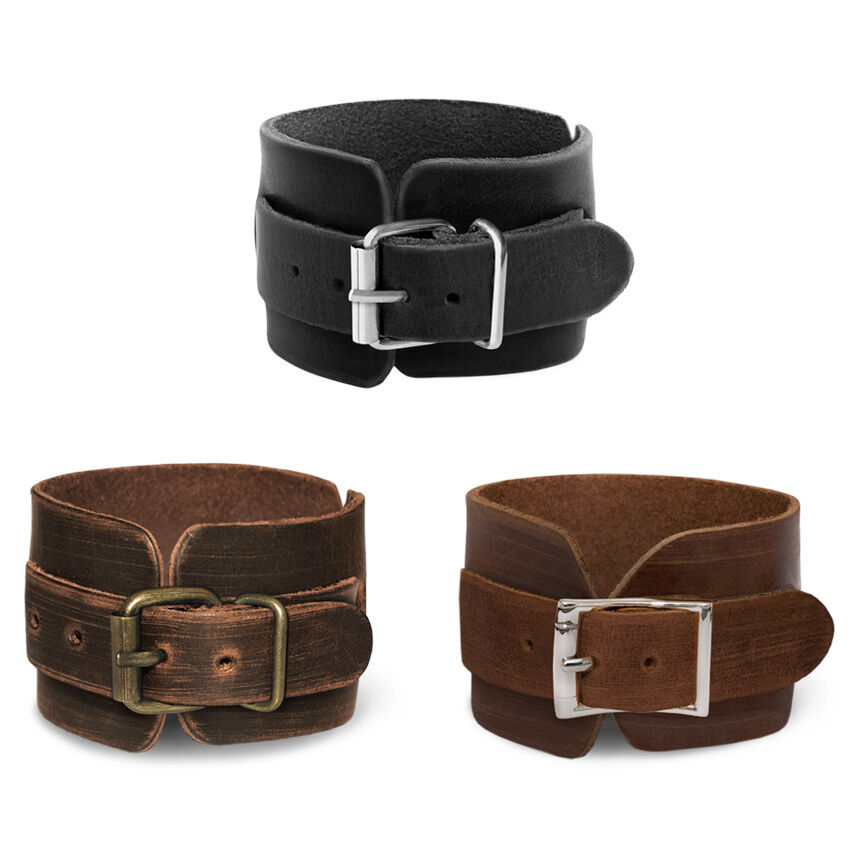 lederarmband leder armband breit herren damen schwarz braun gold manoashark neu ebay. Black Bedroom Furniture Sets. Home Design Ideas