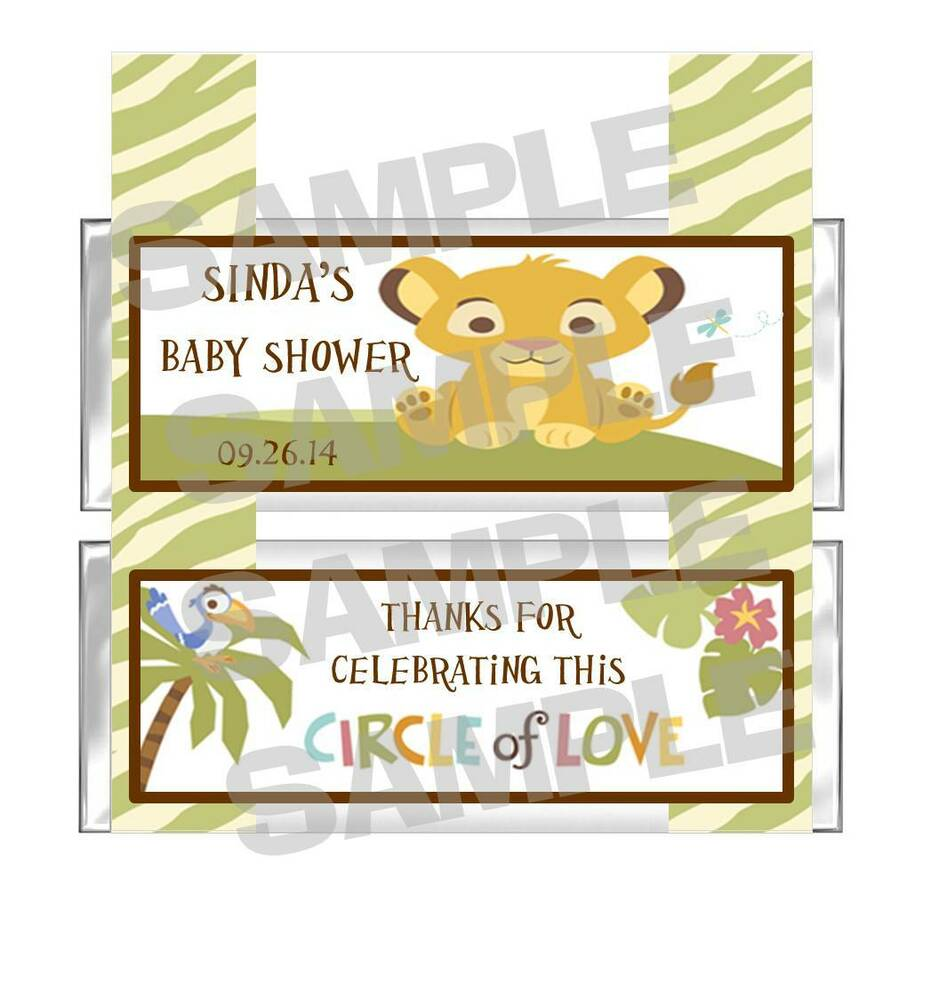 Personalized SIMBA LION KING BABY SHOWER Candy Bar