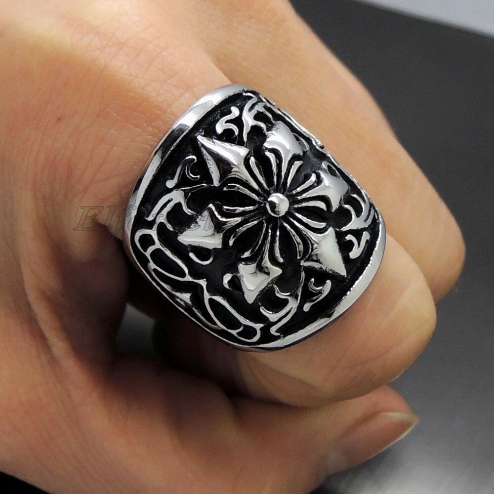 mens vintage flower 316l stainless steel biker ring ebay