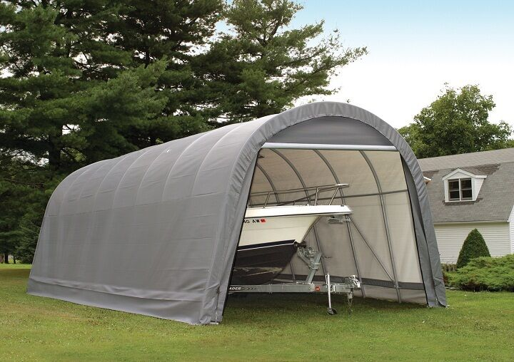 Metal Boat Shelter Kits : Shelterlogic round portable garage canopy carport