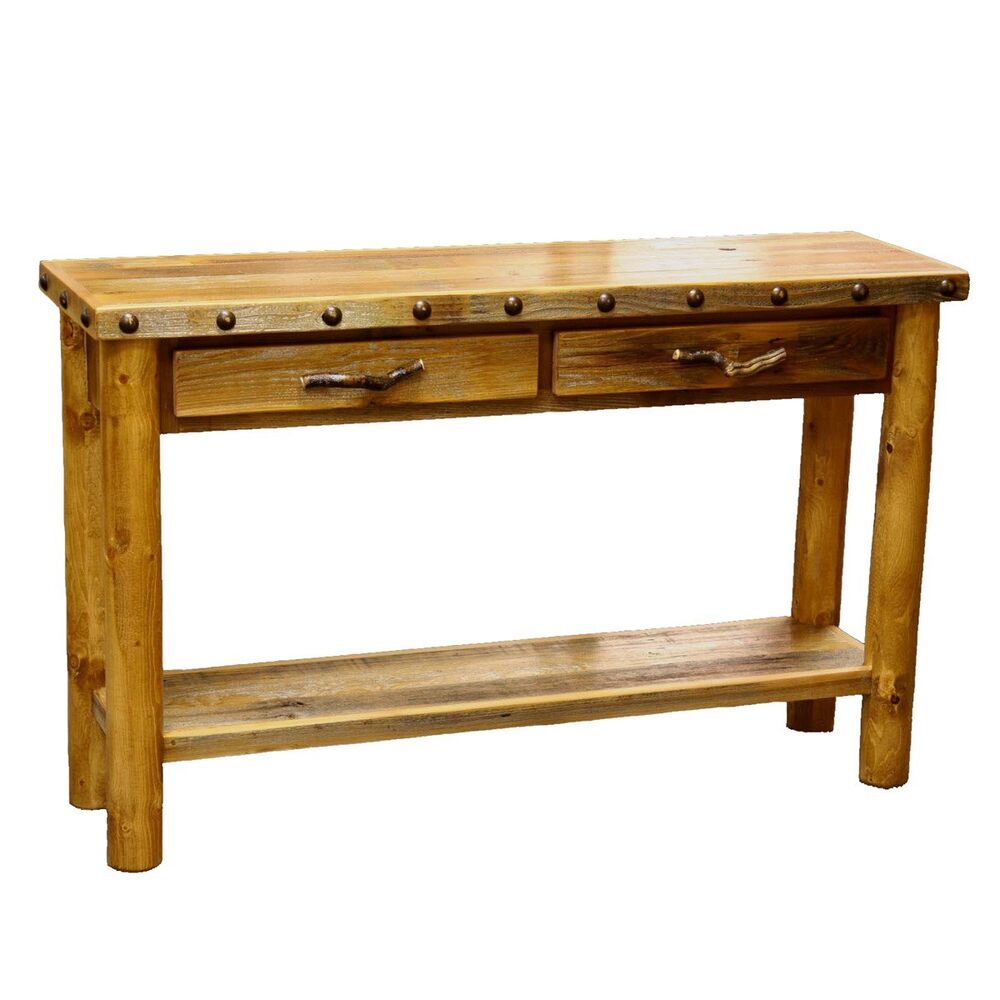 Western 2 Drawer Sofa Table Country Rustic Wood Living Room Furniture Decor Ebay