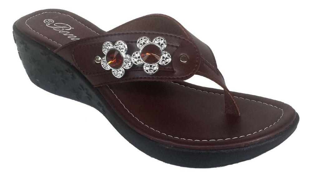 womens fashion wedge beautiful studded brown sandals 2