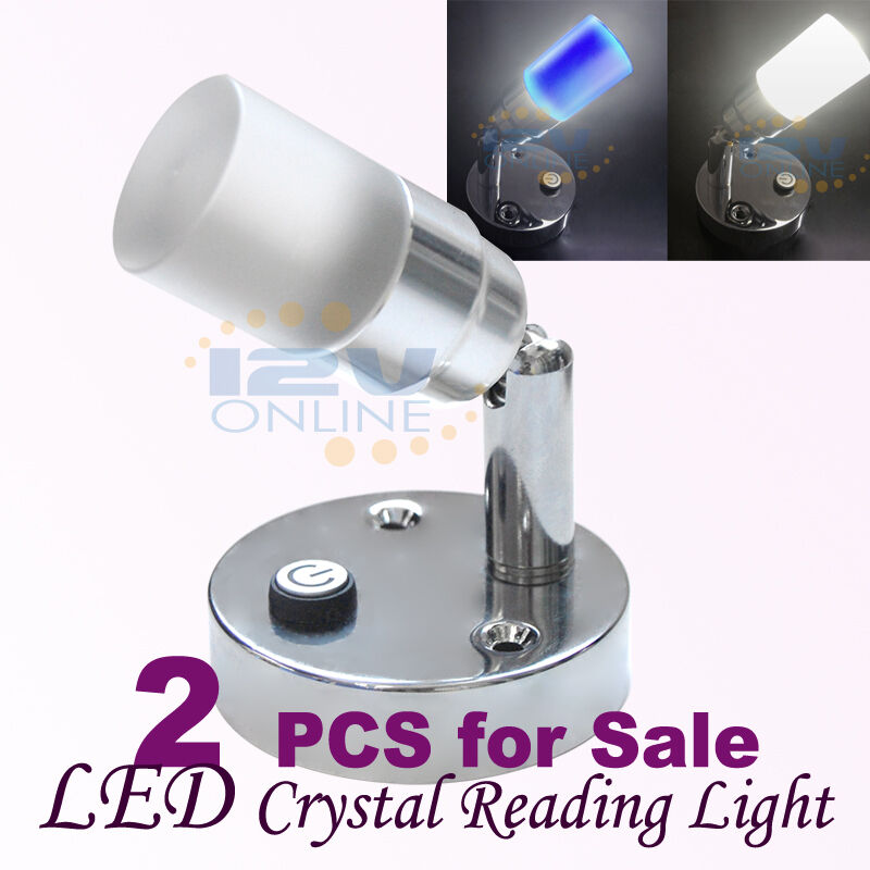 Led Wall Reading Light: 2X12V LED WALL MOUNTED CRYSTAL SWIVEL BOOK READING LIGHTS