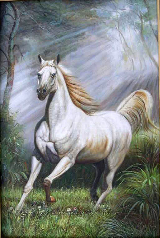 Art Oil painting white horse running in forest landscape ...