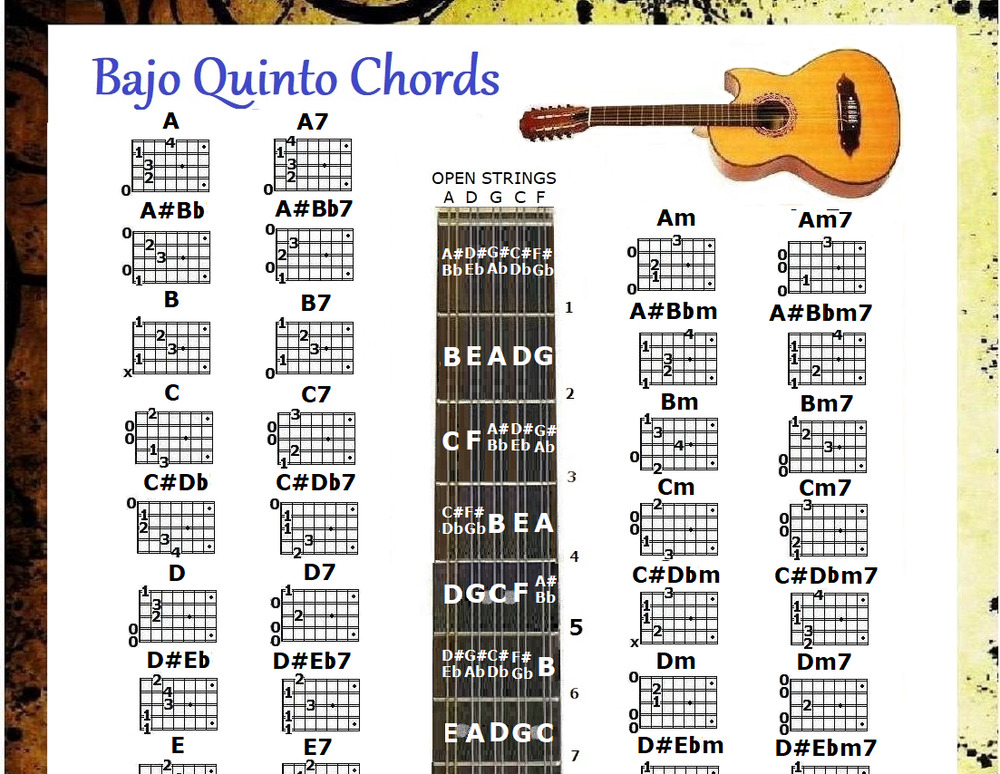 bajo quinto chords chart note locator small chart ebay. Black Bedroom Furniture Sets. Home Design Ideas