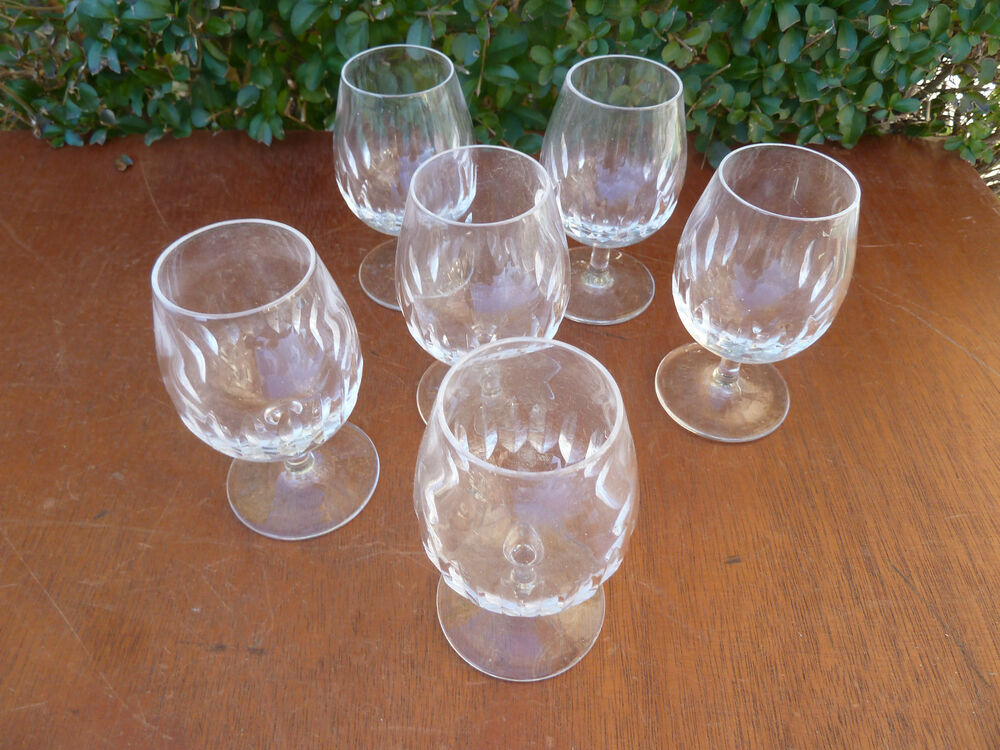 lot de 6 anciens verres d 39 un ancien bistrot verre cristal ancien verre cisel ebay. Black Bedroom Furniture Sets. Home Design Ideas