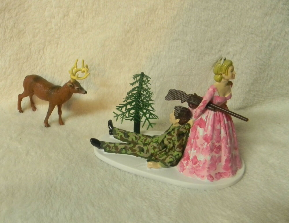 camo wedding cake topper wedding veil amp groom camo buck deer rifle 12341