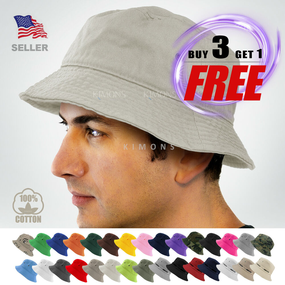 Bucket Hat Cap Cotton Fishing Boonie Brim visor Sun Safari ...