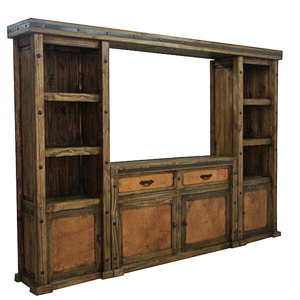 Copper Wall Unit And Tv Stand Entertainment Center Rustic