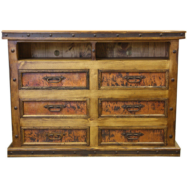 Copper tv dresser tv stand western rustic real wood real copper cabin