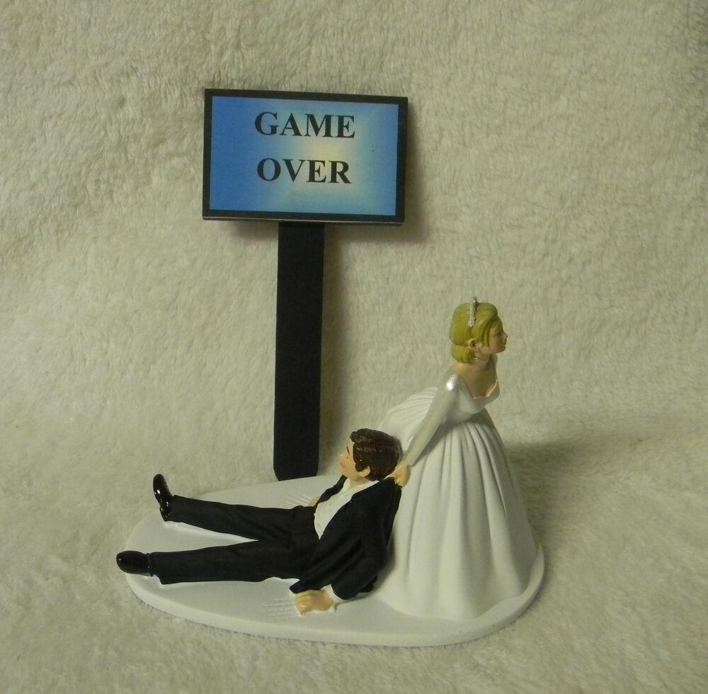 video game wedding cake toppers wedding dragging groom to alter humorous 21592