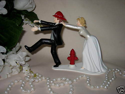 firefighter wedding cake toppers funny wedding reception ceremony fireman firefighter bridal 14267
