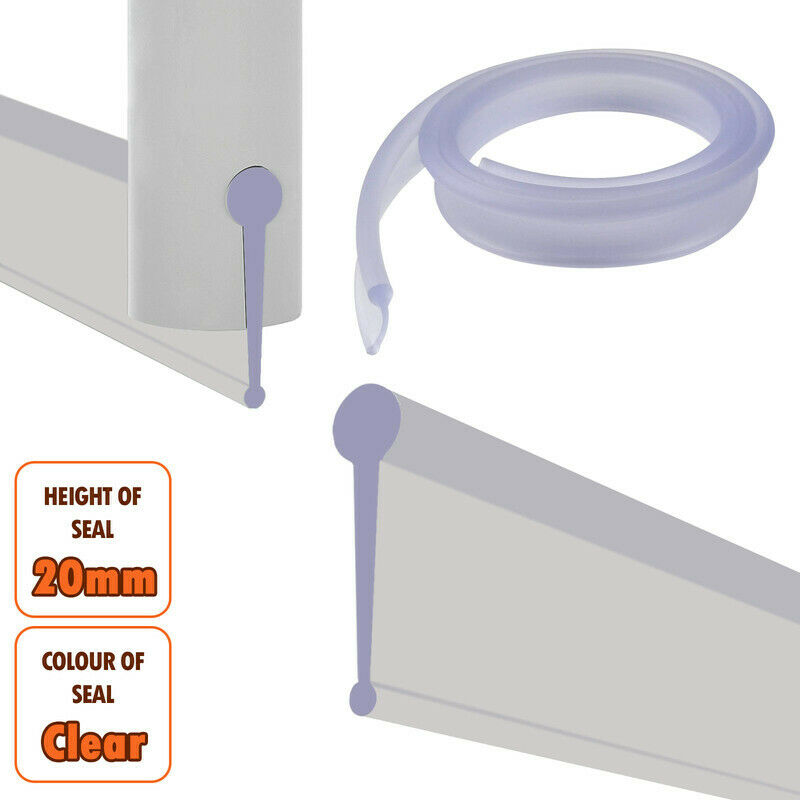 Soft Rubber Clear Shower Screen Seal Strip Bathroom Bi