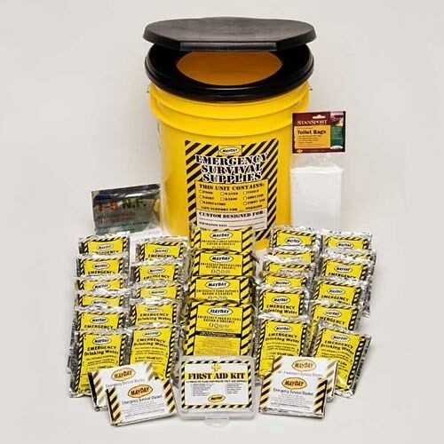 4 person survival gear kit emergency bucket food bars for Food bar emergency