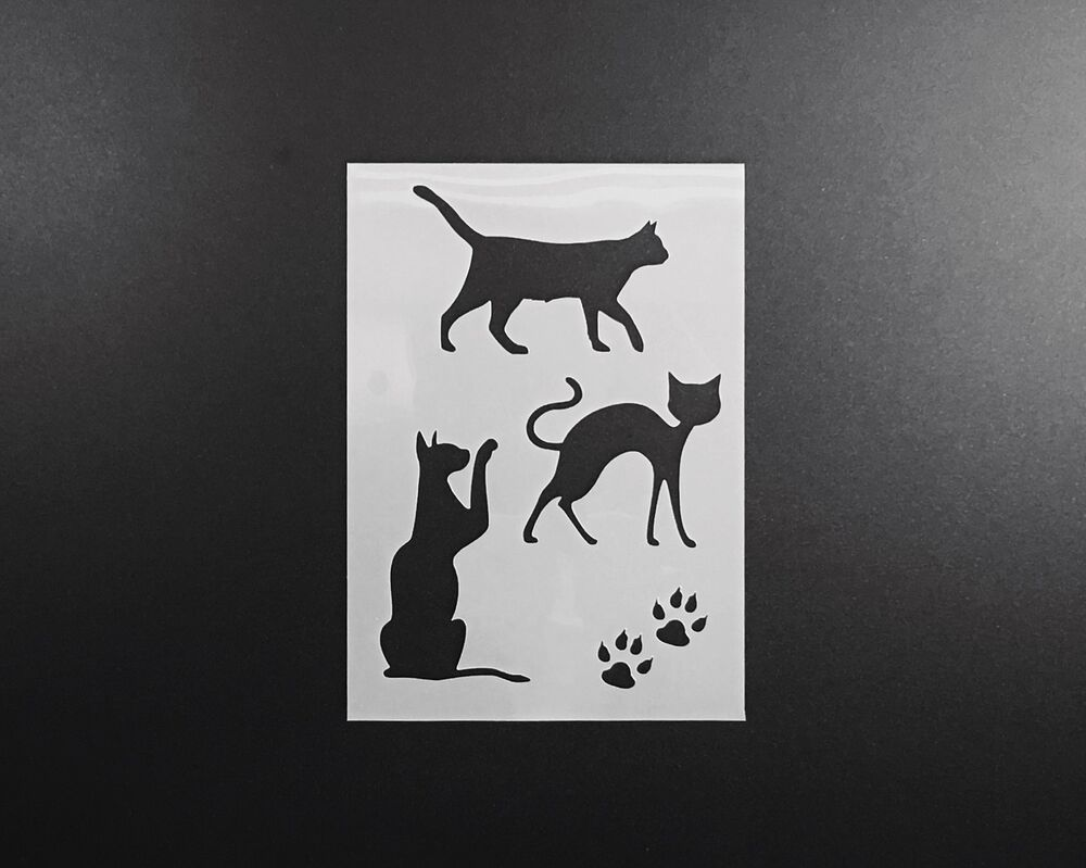 Cats set stencil airbrush wall art craft animal kitty home for Arts and crafts stencils craftsman