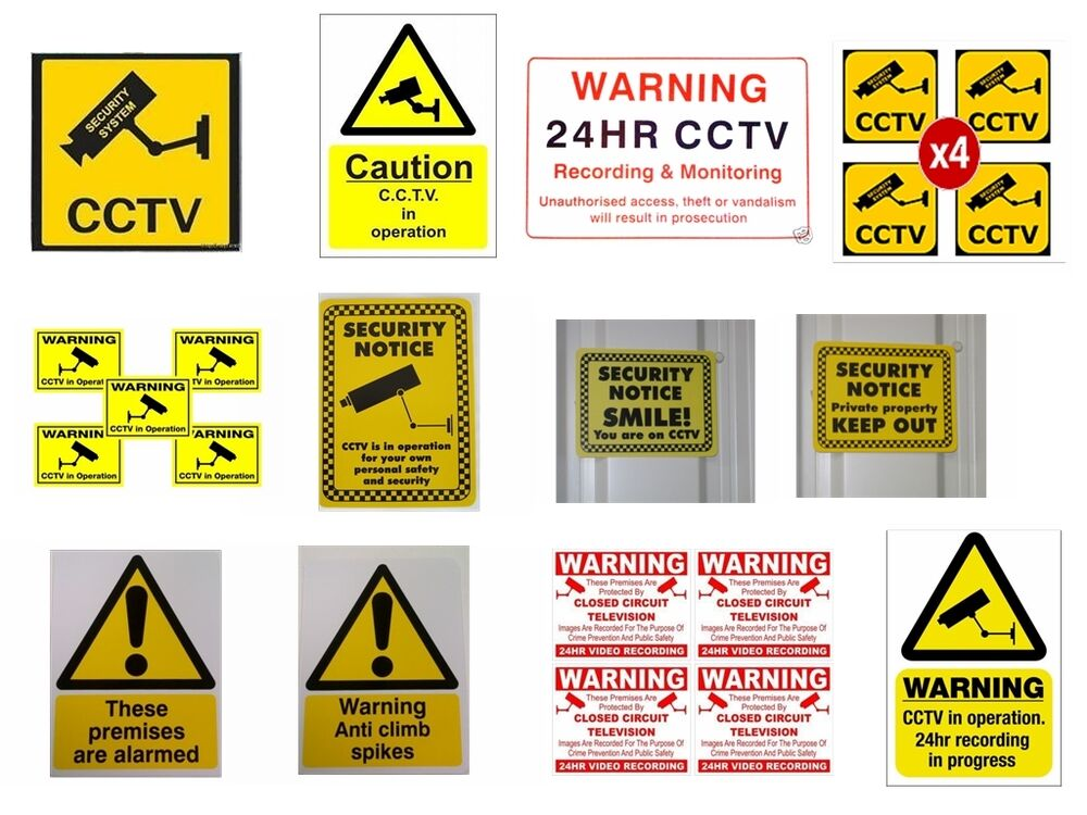 Warning Cctv Camera Security Camera Stickers Signs
