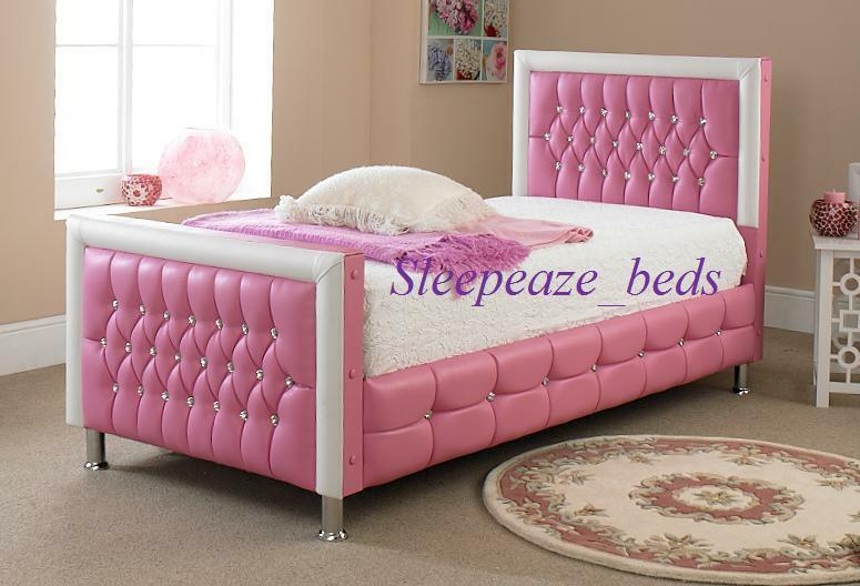 PINK LEATHER BED WITH MATTRESS MEMORY FOAM SINGLE DOUBLE