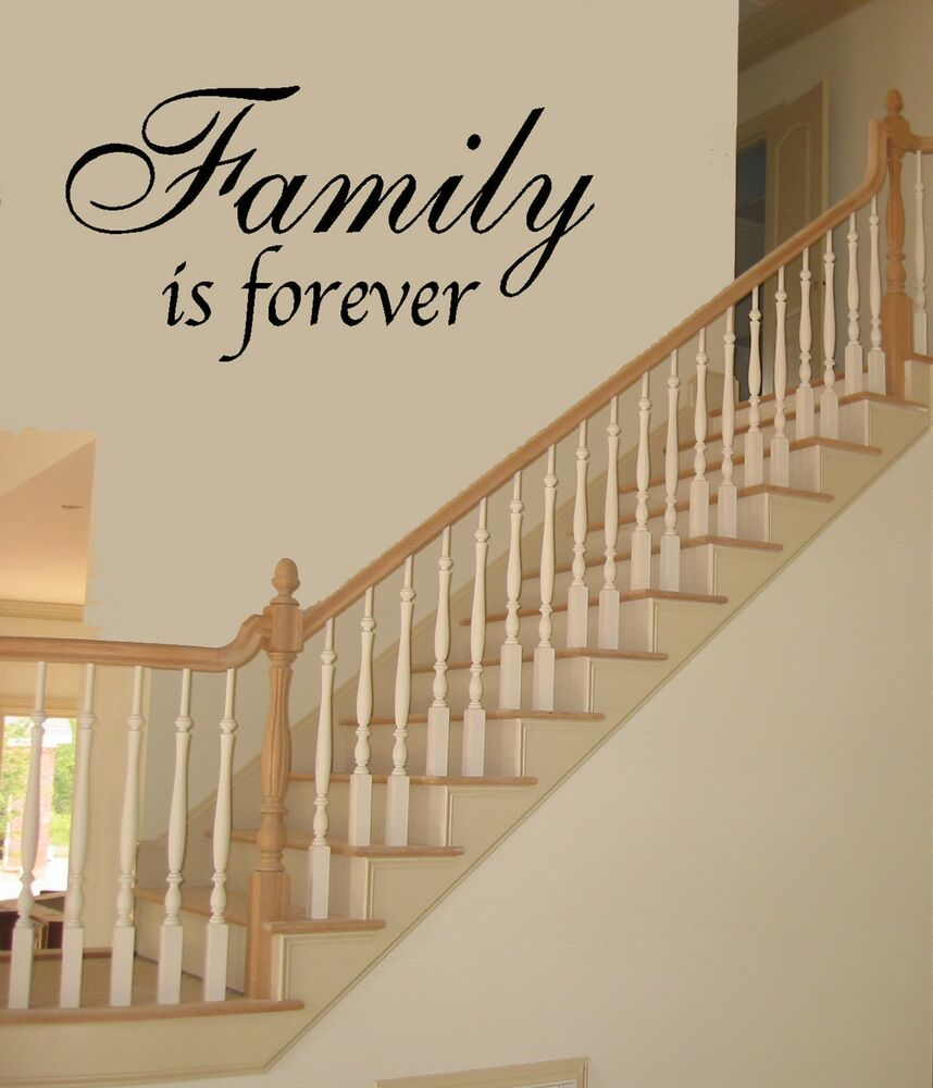 family is forever vinyl wall quote decal art 99045 ebay. Black Bedroom Furniture Sets. Home Design Ideas