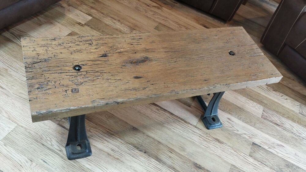 Reclaimed Barn Wood Coffee Table Cast Iron Legs Unique Ebay