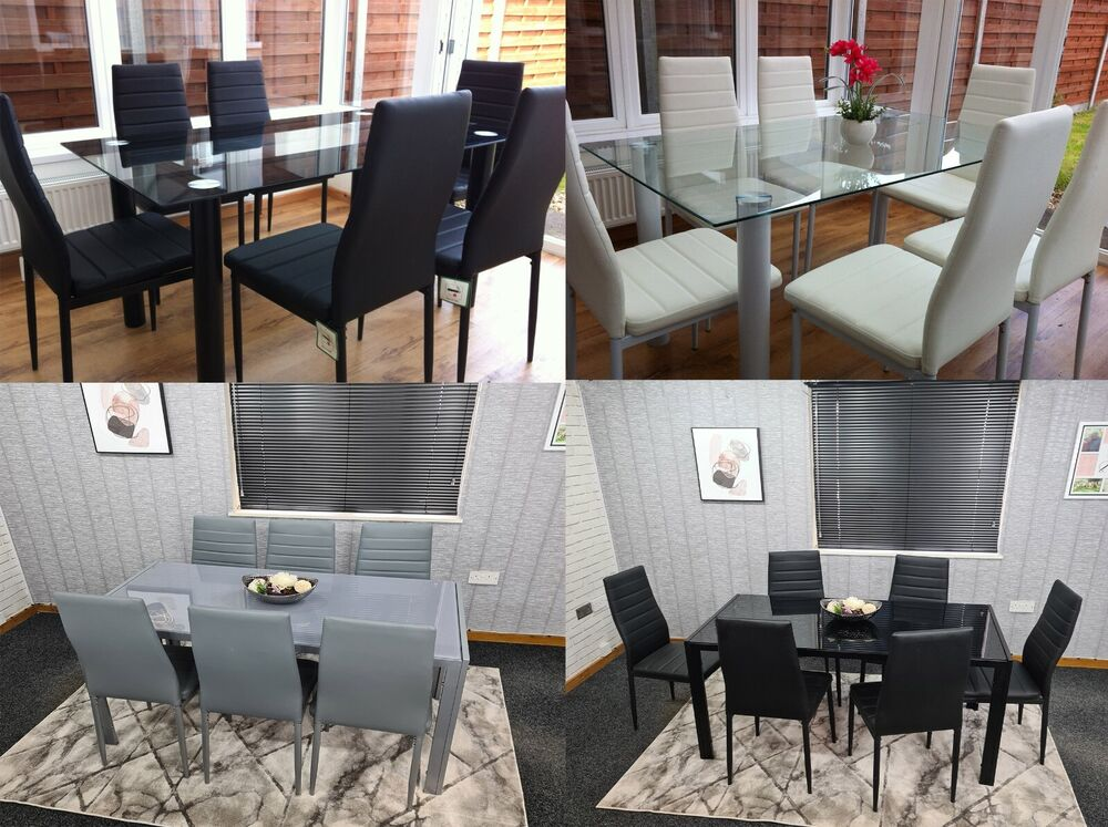 Stunning glass dining table set and with 6 faux leather for White dining table and 6 chairs