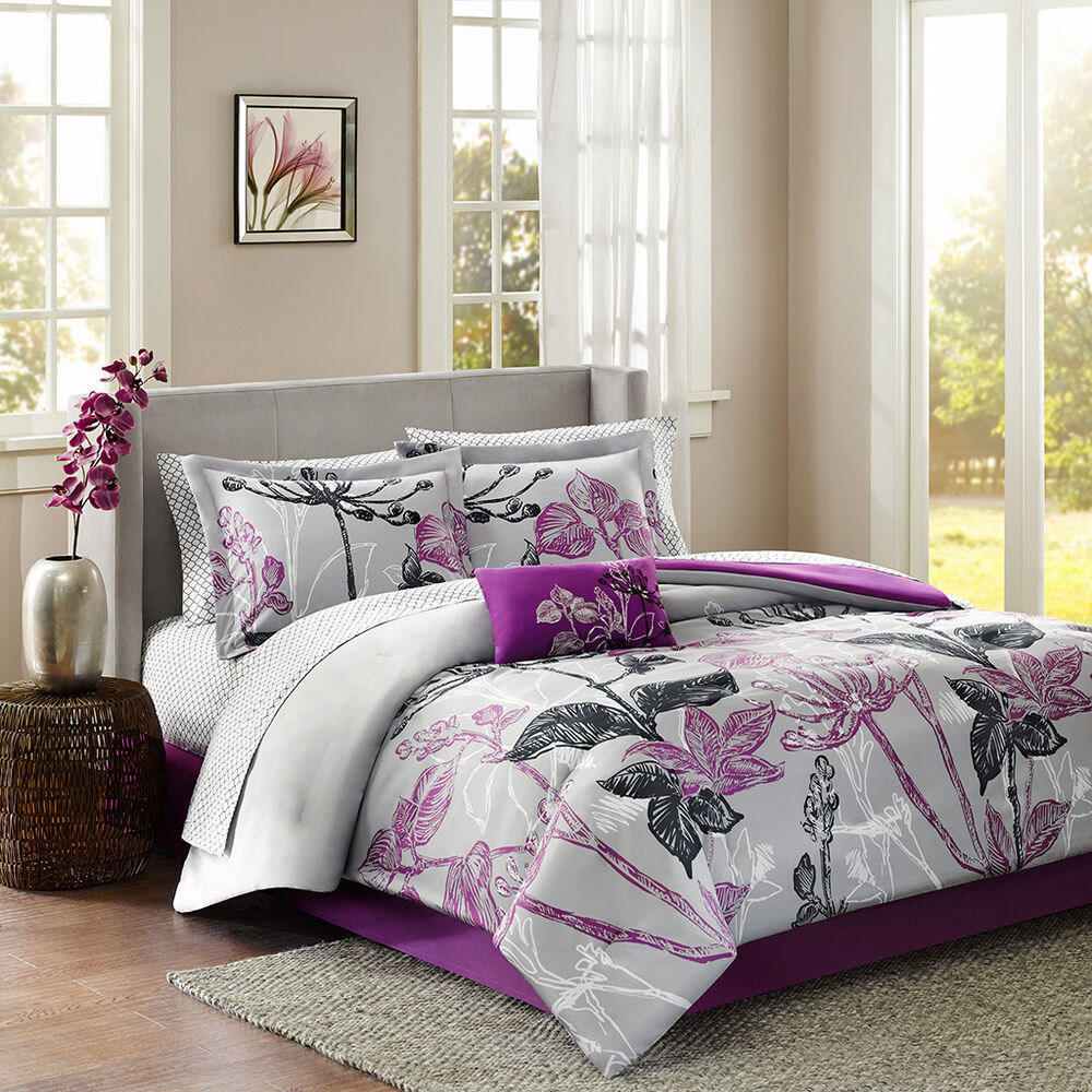 Beautiful 9pc modern purple black grey white floral leaf branch comforter set ebay for Beautiful bedroom comforter sets