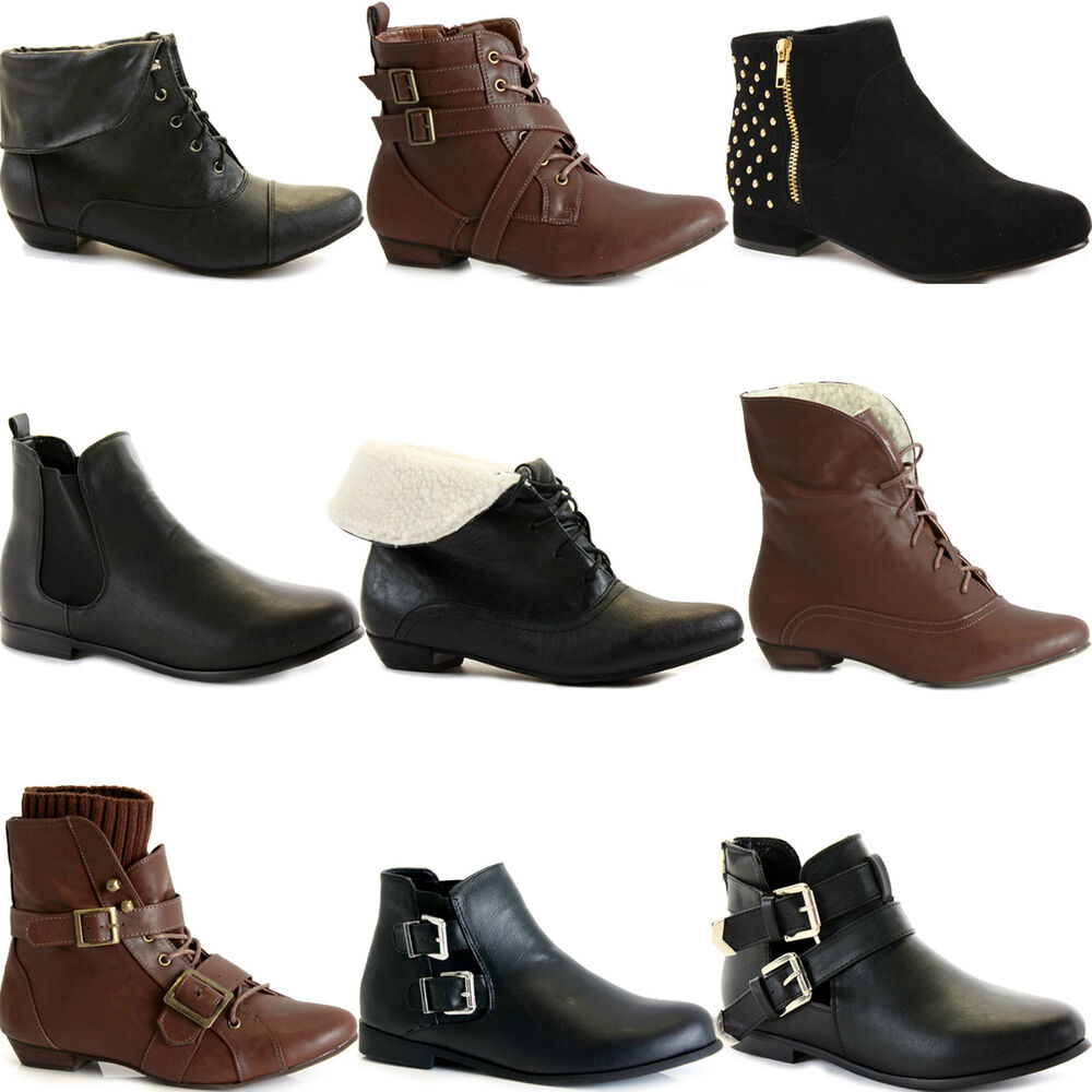NEW WOMENS LADIES FLAT ANKLE BOOTS LOW HEEL VINTAGE PIXIE CHELSEA