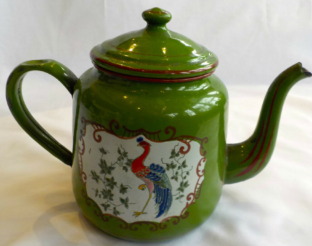 BEAUTIFULLY PAINTED POLYCHROME ANTIQUE TEAPOT CREATED BY
