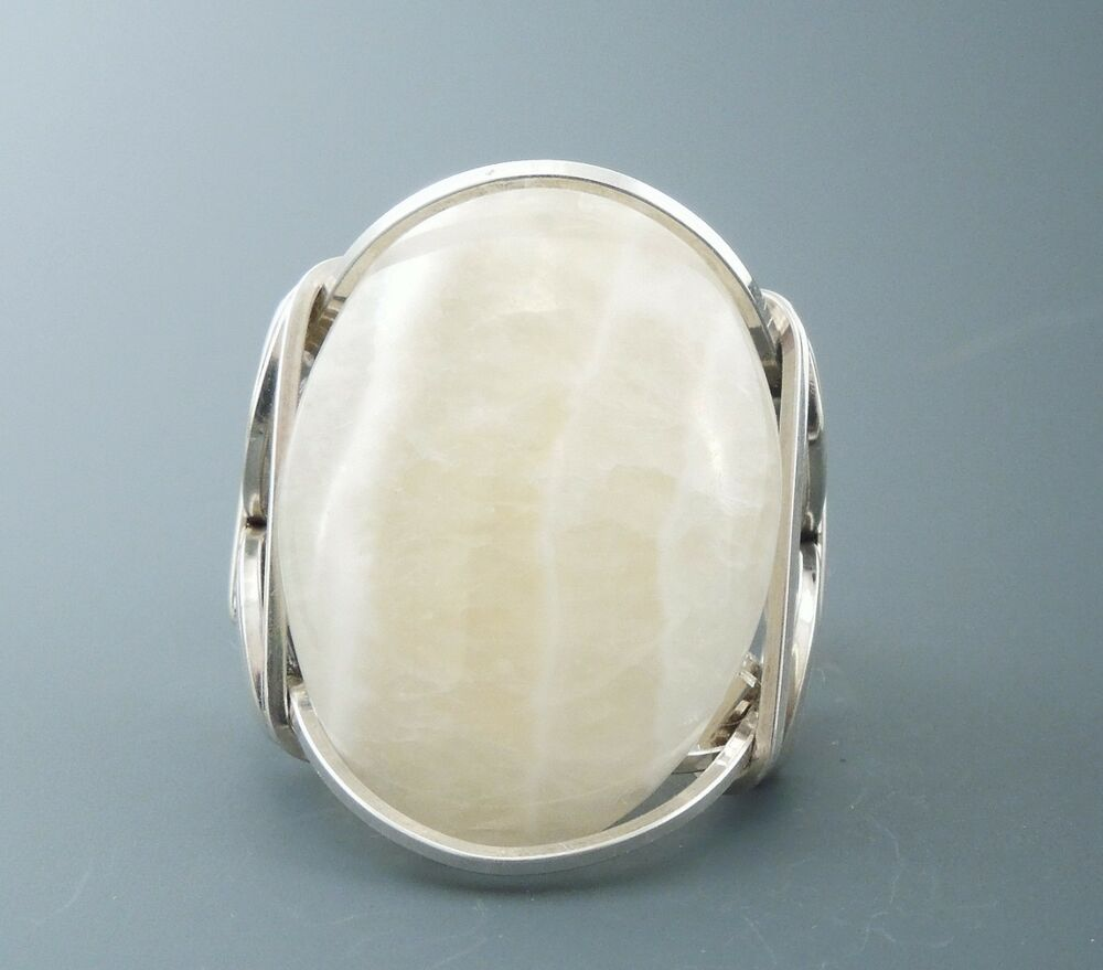 large sterling silver aragonite cabochon wire wrapped ring