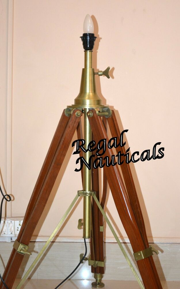 Wooden Lamp Stand Designs : Rustic antique wooden tripod lamp stand nautical floor