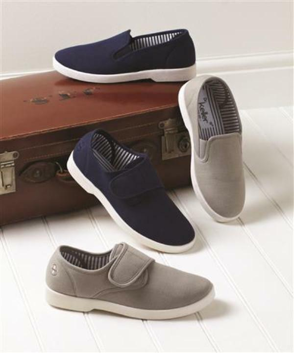 Mens Dr Keller Wide Fit Easy Fasten Or Slip On Canvas